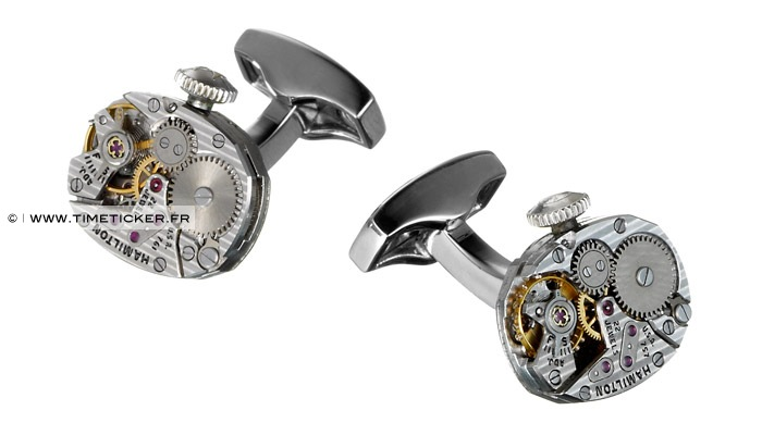 Boutons de manchette en mécanisme de montre - Hamilton (Molette)