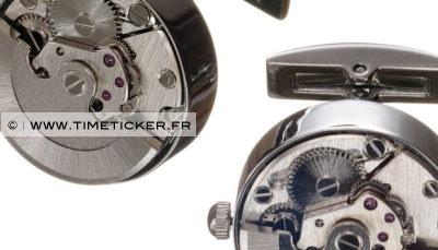 Boutons de manchette en mécanisme de montre (peut être remonté)